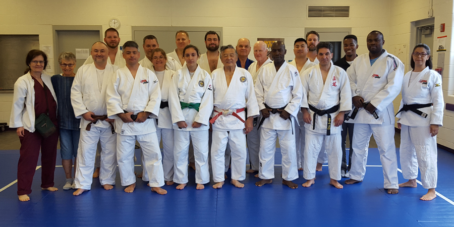 Participants at the Edwin Takemori Referee Clinic, held June 24, 2017 at College Park Judo Club