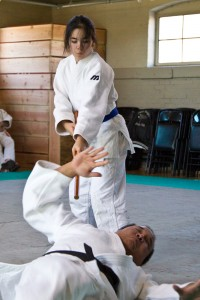 Lindsay and Grant Kuramoto demonstrating Goshin Jitsu