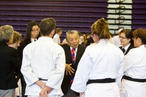 Sensei Takemori leading the advice to the kata competitors