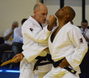 Lifshitz and Burton demonstrating Goshin Jutsu at 2016 Kata World Championships