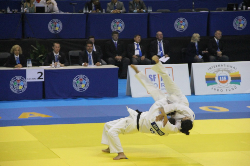 Karl Tamai and Diane Jackson demonstrating Nage No Kata at the 2014 World Judo Kata Championships, Malaga, Spain