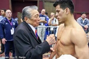 Edwin Vallejo-Alvarez receiving conseling from coach